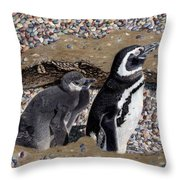 Looking Out For You - Penguins Throw Pillow