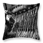Looking Over Guns In Guard Room Throw Pillow