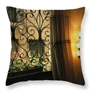 Looking Through Iron Filagree Window Throw Pillow