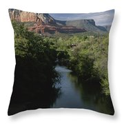 Looking Up Oak Creek At The Red Rocks Throw Pillow
