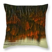 Loon In Opeongo Lake With Reflection Throw Pillow