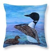 Loon Mother And Baby Throw Pillow