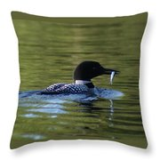 Loon With Minnow Throw Pillow