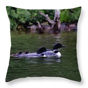 Loons With Twins 2 Throw Pillow