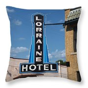 Lorraine Hotel Sign Throw Pillow