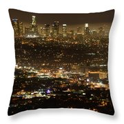 Los Angeles  City View At Night  Throw Pillow
