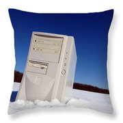 Lost Computer In Snow Throw Pillow