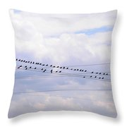 Lots Of Birds On Wires Throw Pillow