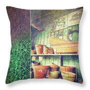 Lots Of Different Size Pots In The Shed Throw Pillow