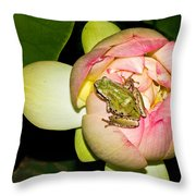 Lotus And Frog Throw Pillow
