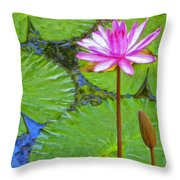 Lotus Blossom And Water Lily Pads Throw Pillow