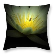 Lotus Blossom And Bee Throw Pillow