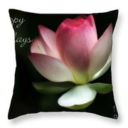 Lotus Flower Holiday Card Throw Pillow