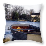 Lough Neagh, Co Antrim, Ireland Boat In Throw Pillow