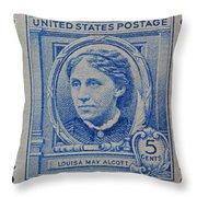 Louisa May Alcott Postage Stamp  Throw Pillow