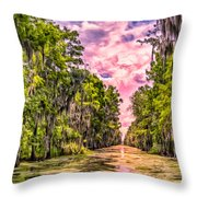 Louisiana Bayou Sunrise Throw Pillow