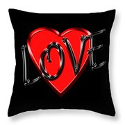 Love Black And Red 1 Throw Pillow