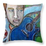 Love For Blue Guitar Throw Pillow