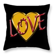 Love Gold And Red Throw Pillow