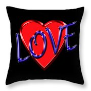 Love In Blue And Red Throw Pillow