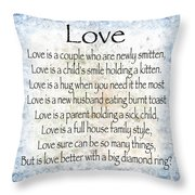 Love Poem In Blue Throw Pillow