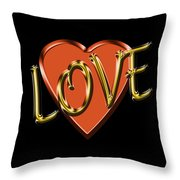 Love In Gold And Copper Throw Pillow
