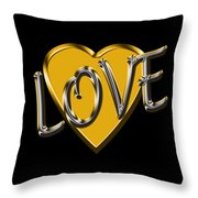 Love In Gold And Silver Throw Pillow