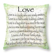 Love Poem In Green Throw Pillow