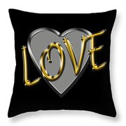 Love In Silver And Gold  Throw Pillow