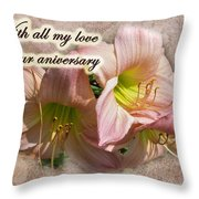 Love On Anniversary - Lilies And Lace Throw Pillow