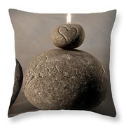 love you forever - An engraved message gives light to a stone heart Throw Pillow