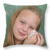 Lovely Girl With Pet Throw Pillow