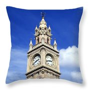 Low Angle View Of A Clock Tower, Albert Throw Pillow