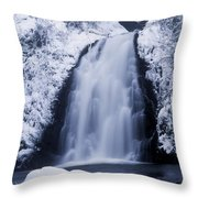 Low Angle View Of A Waterfall, Glenoe Throw Pillow