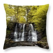 Low Angle View Of A Waterfall In A Throw Pillow