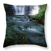 Low Angle View Of A Waterfall Throw Pillow