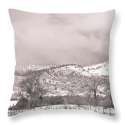 Low Clouds On The Colorado Rocky Mountain Foothills 3 Bw Throw Pillow