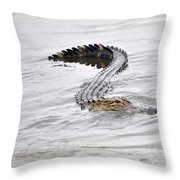 Low Country Marsh Alligator Throw Pillow