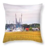 Low County Marsh View Shrimp Boats Throw Pillow