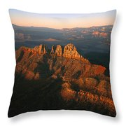 Low Sunlight Shines On Mountains Throw Pillow