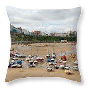 Low Tide At Tenby Throw Pillow