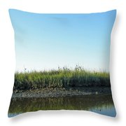 Low Tide In The Tidal Creek Throw Pillow