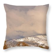 Low Winter Storm Clouds Colorado Rocky Mountain Foothills 4 Throw Pillow