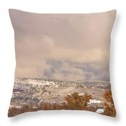 Low Winter Storm Clouds Colorado Rocky Mountain Foothills 7 Throw Pillow