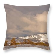 Low Winter Storm Clouds Colorado Rocky Mountain Foothills Throw Pillow