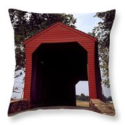 Loy's Station Covered Bridge Throw Pillow