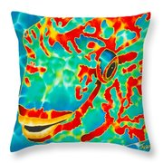 Lucky Parrotfish Throw Pillow by Daniel Jean-Baptiste