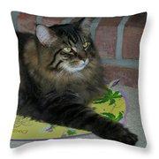 Lucky The Cat Throw Pillow