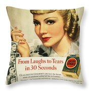 Luckys Cigarette Ad, 1938 Throw Pillow