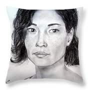 Lucy Liu Portrait Throw Pillow